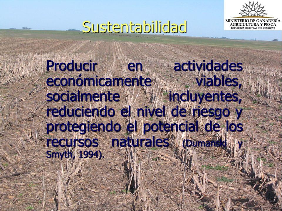 Sustentabilidad Producir en actividades económicamente viables, socialmente incluyentes, reduciendo el nivel de riesgo y protegiendo el potencial de l