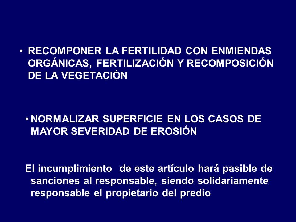 RECOMPONER LA FERTILIDAD CON ENMIENDAS ORGÁNICAS, FERTILIZACIÓN Y RECOMPOSICIÓN DE LA VEGETACIÓN NORMALIZAR SUPERFICIE EN LOS CASOS DE MAYOR SEVERIDAD