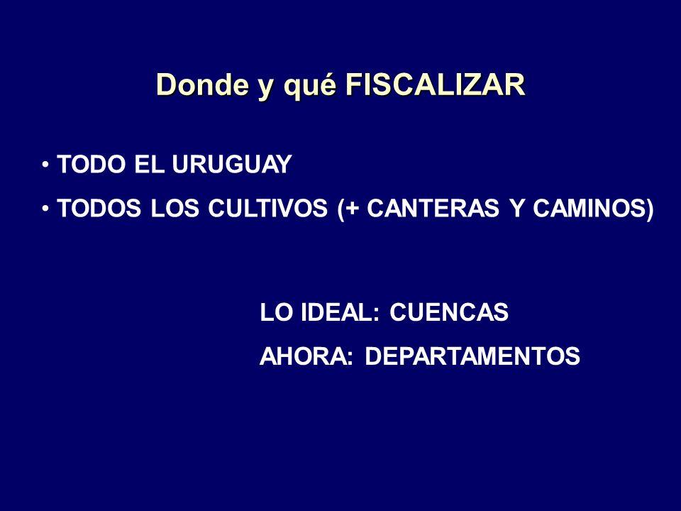 Donde y qué FISCALIZAR TODO EL URUGUAY TODOS LOS CULTIVOS (+ CANTERAS Y CAMINOS) LO IDEAL: CUENCAS AHORA: DEPARTAMENTOS