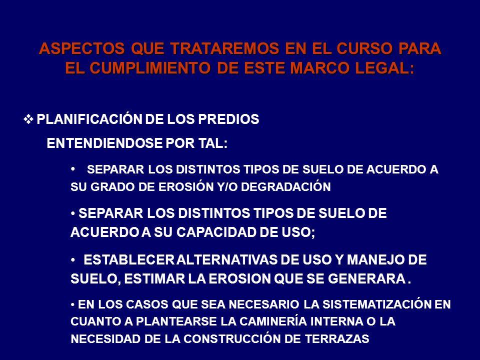 ASPECTOS QUE TRATAREMOS EN EL CURSO PARA EL CUMPLIMIENTO DE ESTE MARCO LEGAL: PLANIFICACIÓN DE LOS PREDIOS ENTENDIENDOSE POR TAL: SEPARAR LOS DISTINTO