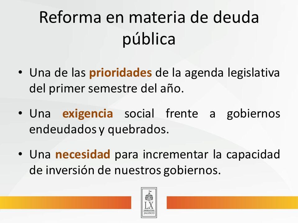 Reforma en materia de deuda pública Una de las prioridades de la agenda legislativa del primer semestre del año.