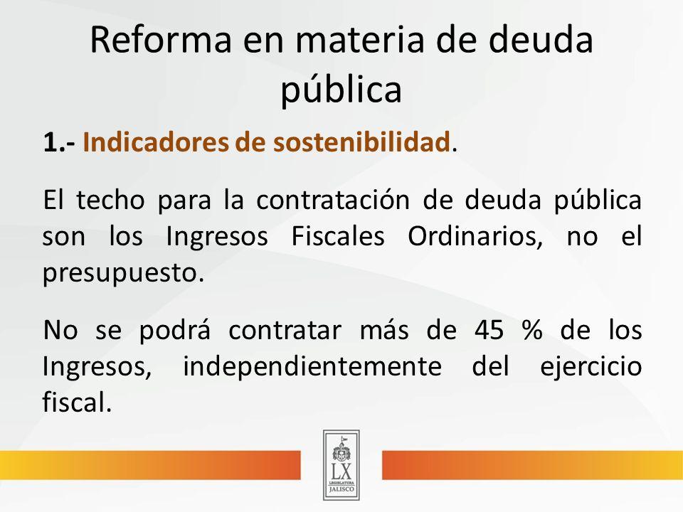 Reforma en materia de deuda pública 1.- Indicadores de sostenibilidad.
