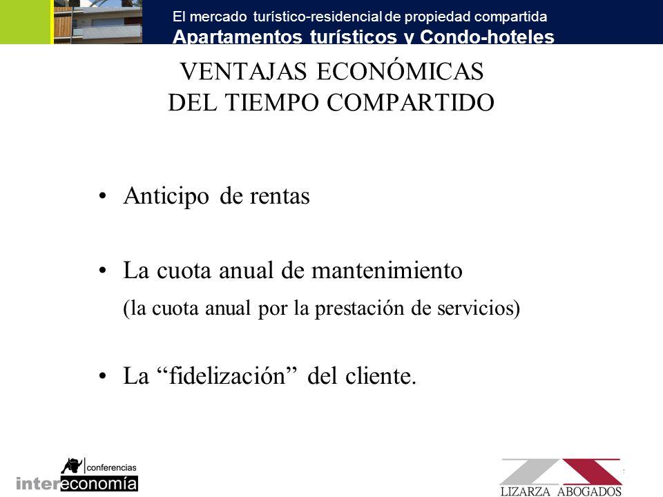 El mercado turístico-residencial de propiedad compartida Apartamentos turísticos y Condo-hoteles SINERGIAS DEL MERCADO TURÍSTICO-RESIDENCIAL Fórmula tradicional: El Tiempo Compartido como explotación turística individualizada.