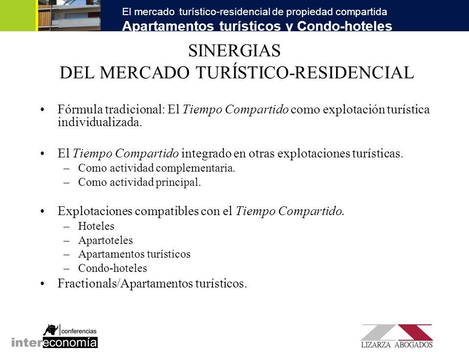 El mercado turístico-residencial de propiedad compartida Apartamentos turísticos y Condo-hoteles SINERGIAS DEL MERCADO TURÍSTICO-RESIDENCIAL Fórmula t
