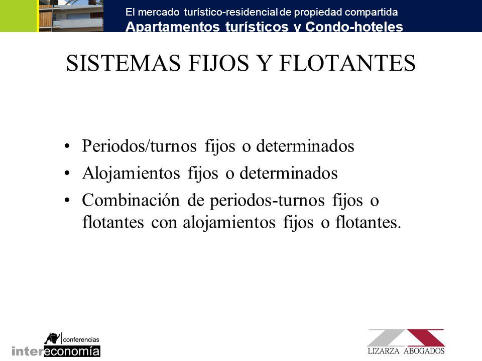 El mercado turístico-residencial de propiedad compartida Apartamentos turísticos y Condo-hoteles SISTEMAS FIJOS Y FLOTANTES Periodos/turnos fijos o de