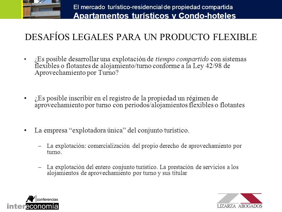 El mercado turístico-residencial de propiedad compartida Apartamentos turísticos y Condo-hoteles VACACIONES FLEXIBLES El intercambio interno El sistema de intercambio internacional Sistemas de multilocalización.