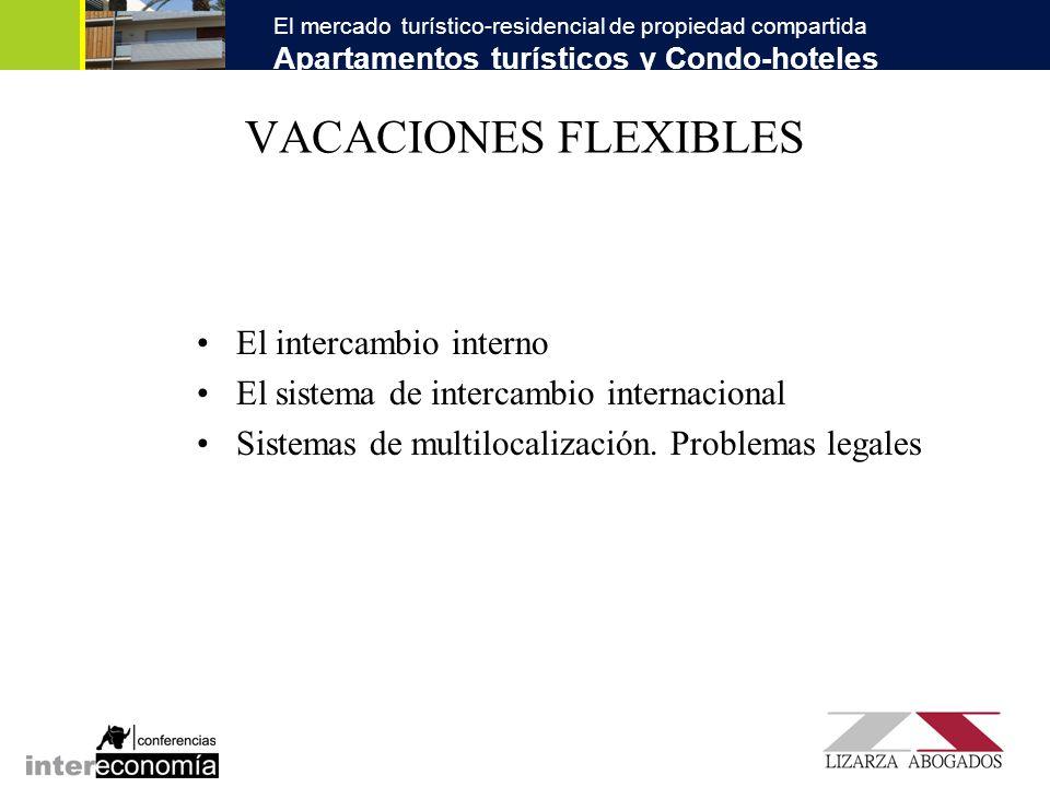 El mercado turístico-residencial de propiedad compartida Apartamentos turísticos y Condo-hoteles VACACIONES FLEXIBLES El intercambio interno El sistem