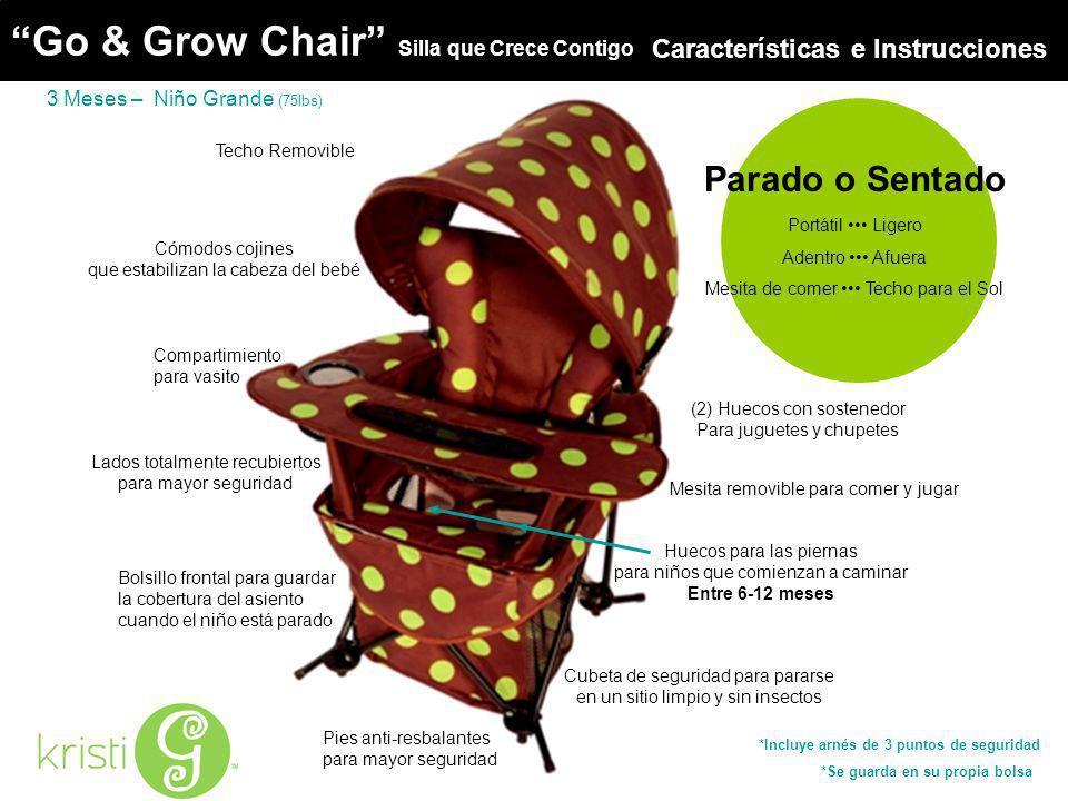 Go & Grow Chair Techo Removible Bolsillo frontal para guardar la cobertura del asiento cuando el niño está parado Pies anti-resbalantes para mayor seg