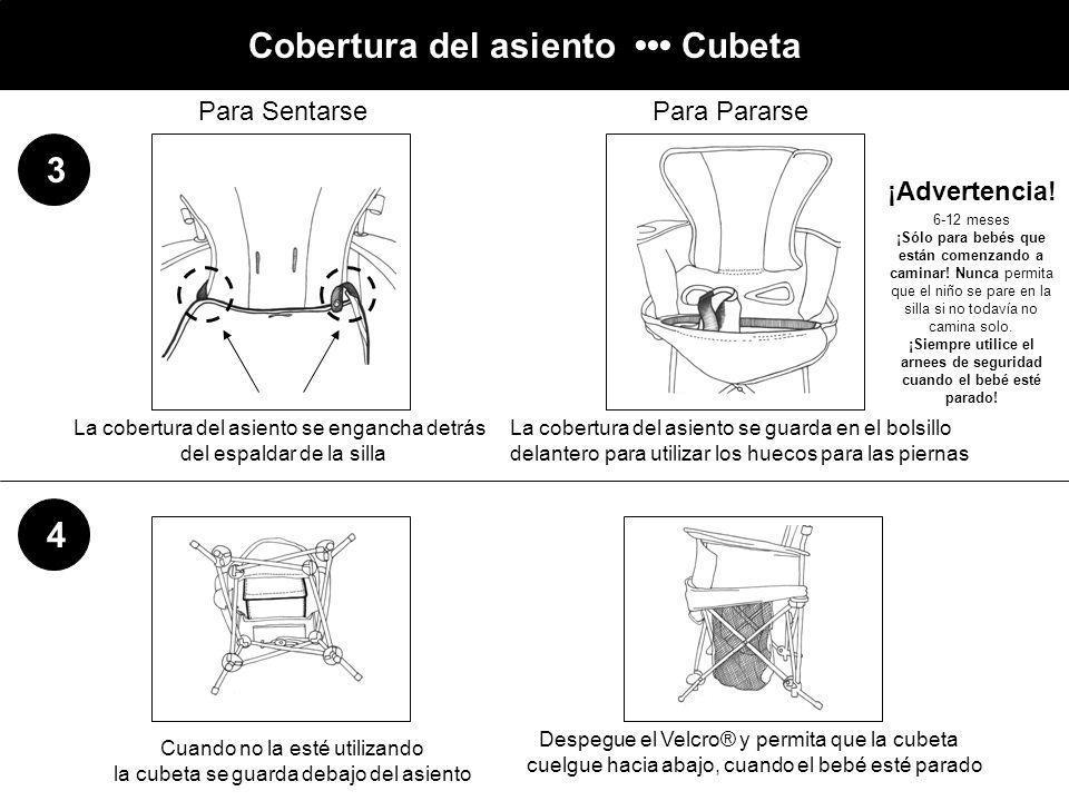 Cobertura del asiento Cubeta 3 4 La cobertura del asiento se engancha detrás del espaldar de la silla La cobertura del asiento se guarda en el bolsill