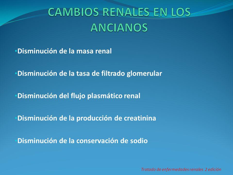 Disminución de la masa renal Disminución de la tasa de filtrado glomerular Disminución del flujo plasmático renal Disminución de la producción de crea