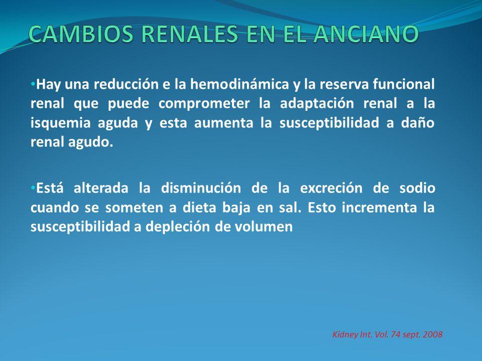 Hay una reducción e la hemodinámica y la reserva funcional renal que puede comprometer la adaptación renal a la isquemia aguda y esta aumenta la susce