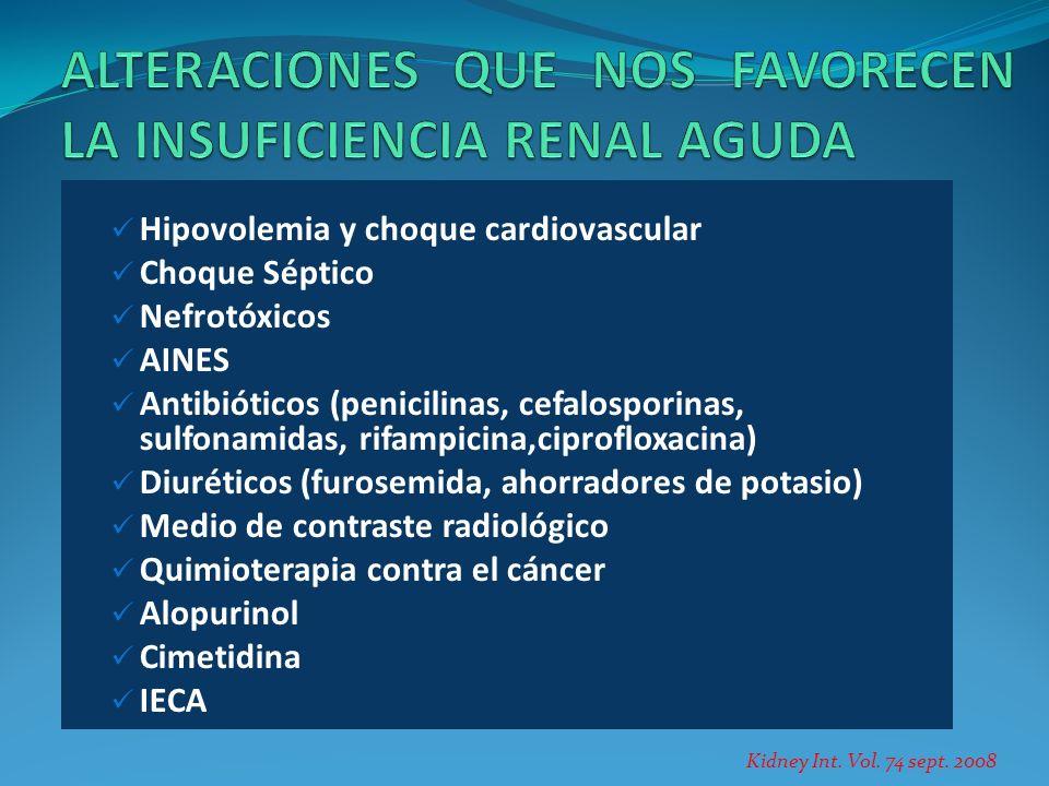 Hipovolemia y choque cardiovascular Choque Séptico Nefrotóxicos AINES Antibióticos (penicilinas, cefalosporinas, sulfonamidas, rifampicina,ciprofloxac