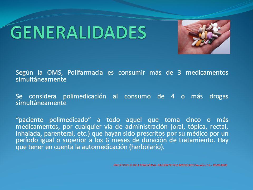 Según la OMS, Polifarmacia es consumir más de 3 medicamentos simultáneamente Se considera polimedicación al consumo de 4 o más drogas simultáneamente