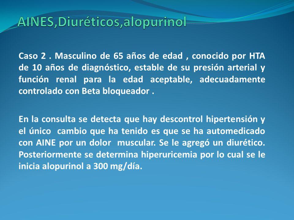 Caso 2. Masculino de 65 años de edad, conocido por HTA de 10 años de diagnóstico, estable de su presión arterial y función renal para la edad aceptabl