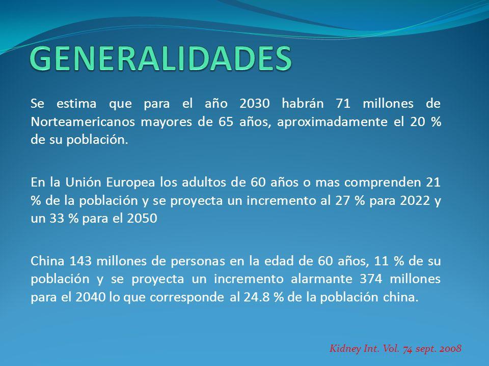 Se estima que para el año 2030 habrán 71 millones de Norteamericanos mayores de 65 años, aproximadamente el 20 % de su población. En la Unión Europea
