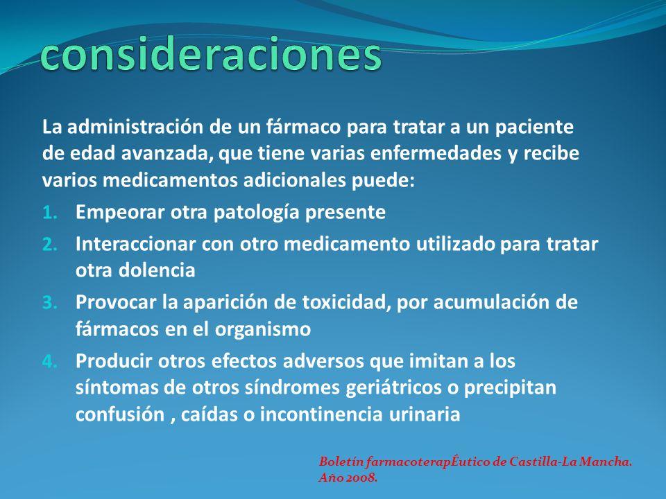 La administración de un fármaco para tratar a un paciente de edad avanzada, que tiene varias enfermedades y recibe varios medicamentos adicionales pue