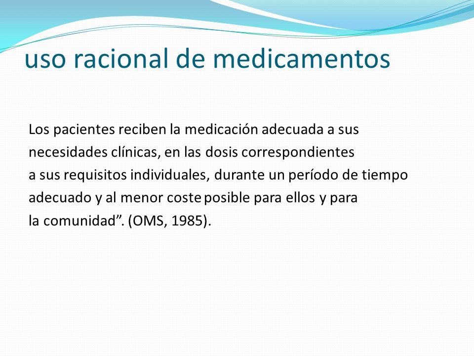 uso racional de medicamentos Los pacientes reciben la medicación adecuada a sus necesidades clínicas, en las dosis correspondientes a sus requisitos i