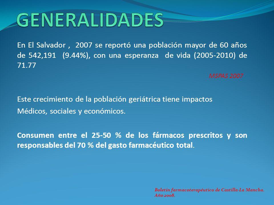 En El Salvador, 2007 se reportó una población mayor de 60 años de 542,191 (9.44%), con una esperanza de vida (2005-2010) de 71.77 MSPAS 2007 Este crec