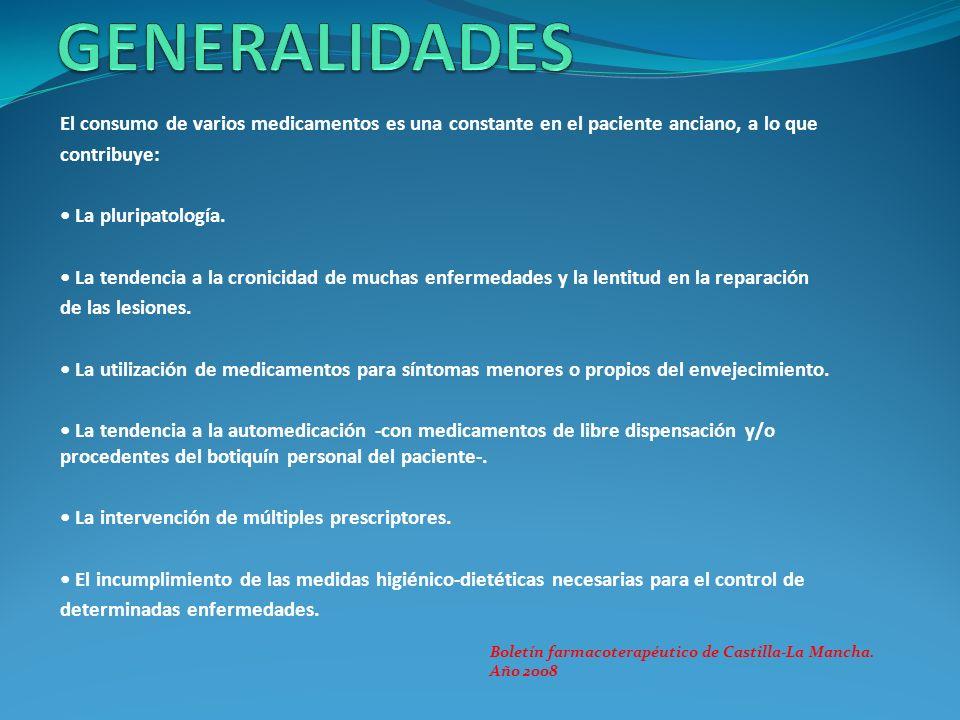El consumo de varios medicamentos es una constante en el paciente anciano, a lo que contribuye: La pluripatología. La tendencia a la cronicidad de muc