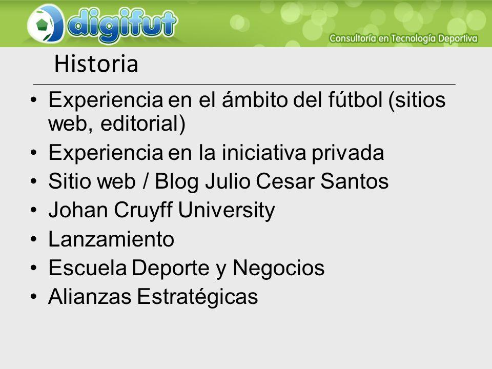 Historia Experiencia en el ámbito del fútbol (sitios web, editorial) Experiencia en la iniciativa privada Sitio web / Blog Julio Cesar Santos Johan Cr