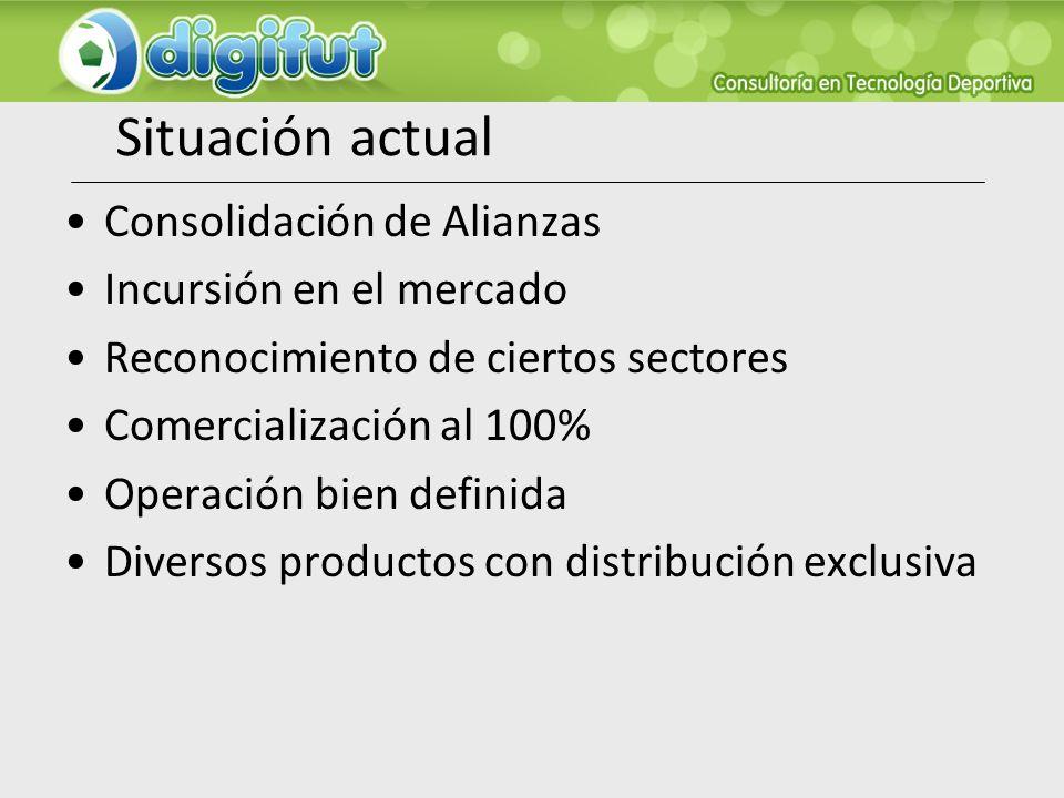 Situación actual Consolidación de Alianzas Incursión en el mercado Reconocimiento de ciertos sectores Comercialización al 100% Operación bien definida