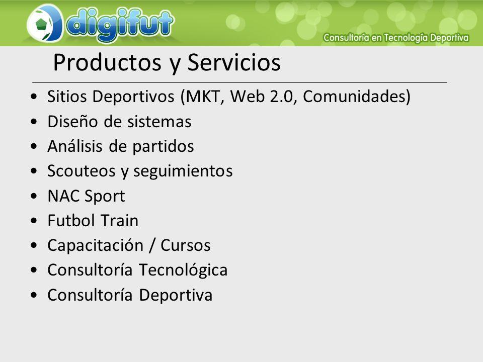 Productos y Servicios Sitios Deportivos (MKT, Web 2.0, Comunidades) Diseño de sistemas Análisis de partidos Scouteos y seguimientos NAC Sport Futbol T