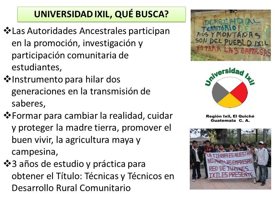 UNIVERSIDAD IXIL, QUÉ BUSCA? Las Autoridades Ancestrales participan en la promoción, investigación y participación comunitaria de estudiantes, Instrum