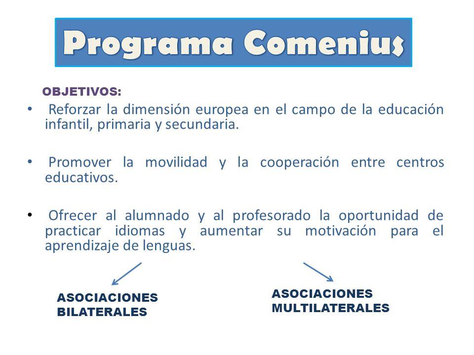 OBJETIVOS: Reforzar la dimensión europea en el campo de la educación infantil, primaria y secundaria. Promover la movilidad y la cooperación entre cen