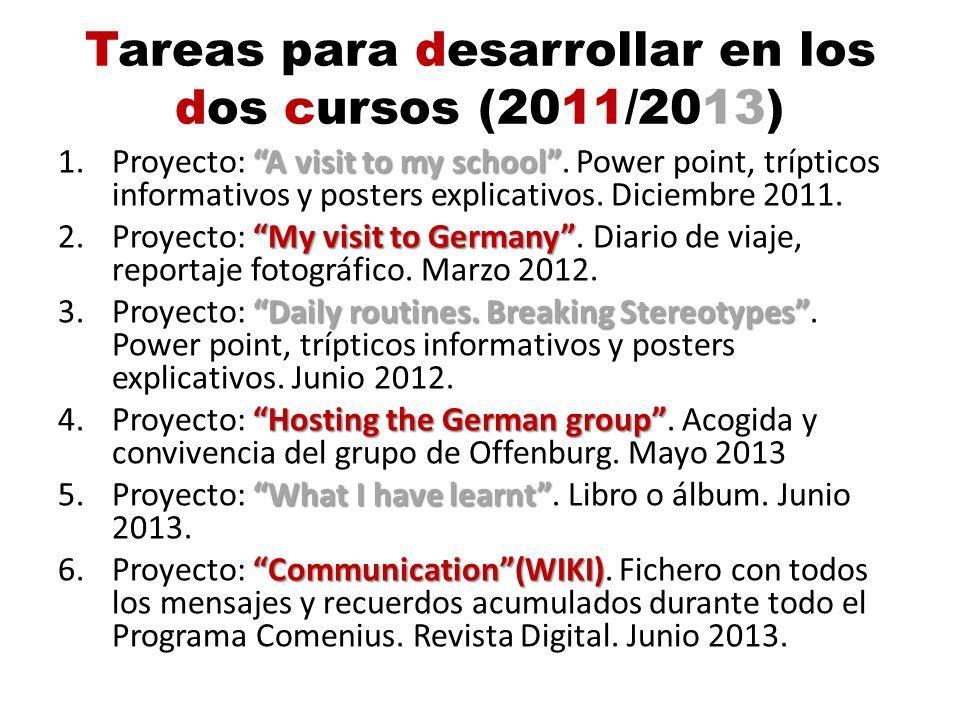 Tareas para desarrollar en los dos cursos (2011/2013) A visit to my school 1.Proyecto: A visit to my school. Power point, trípticos informativos y pos