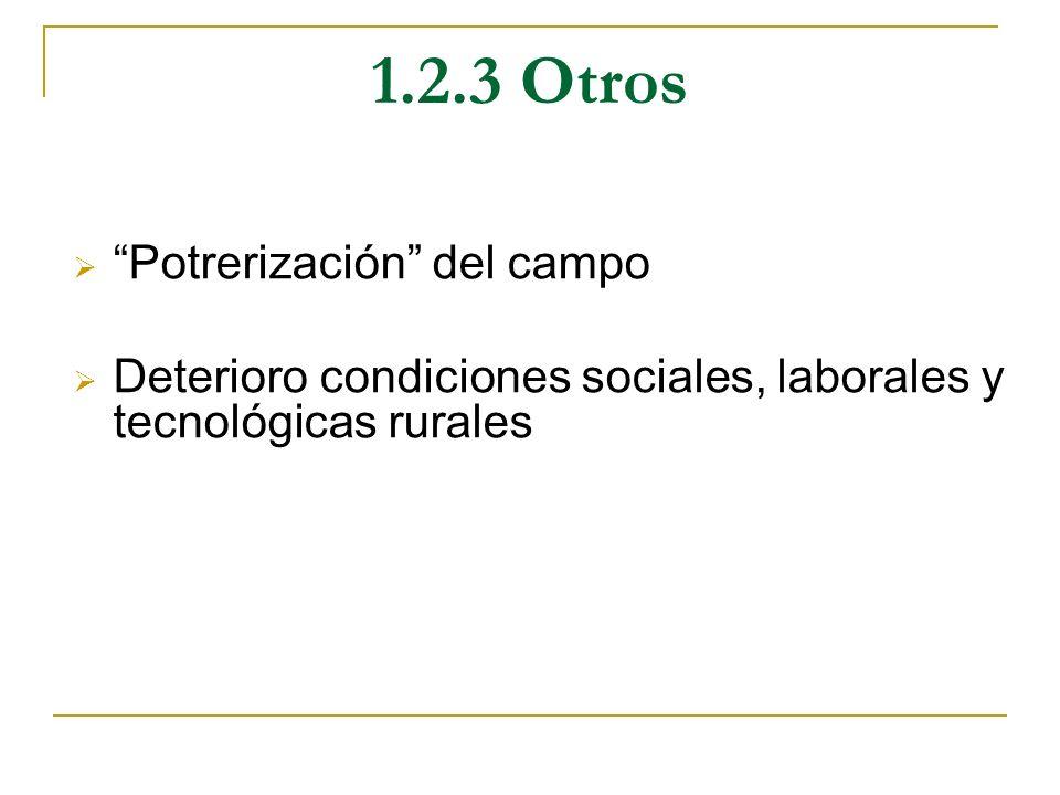 1.2.3 Otros Potrerización del campo Deterioro condiciones sociales, laborales y tecnológicas rurales