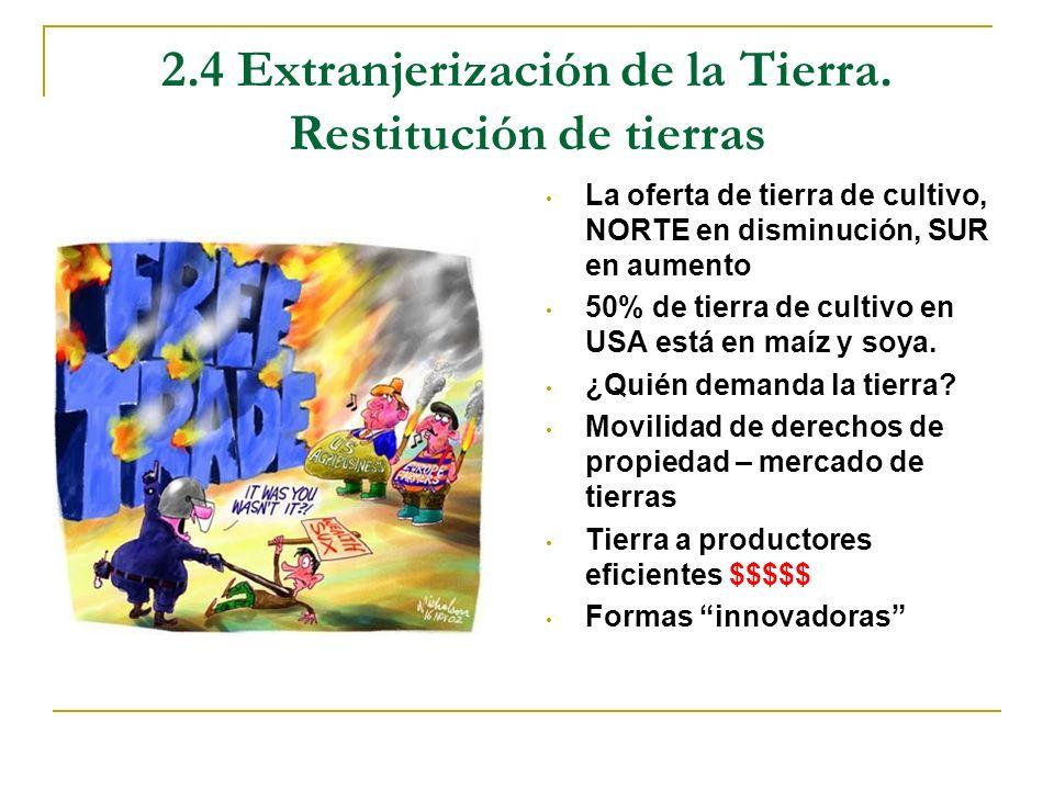 2.4 Extranjerización de la Tierra. Restitución de tierras La oferta de tierra de cultivo, NORTE en disminución, SUR en aumento 50% de tierra de cultiv