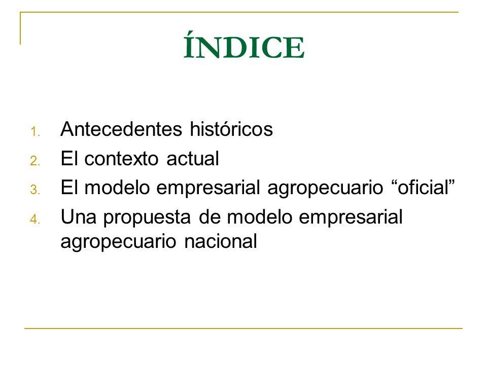 ÍNDICE 1. Antecedentes históricos 2. El contexto actual 3. El modelo empresarial agropecuario oficial 4. Una propuesta de modelo empresarial agropecua