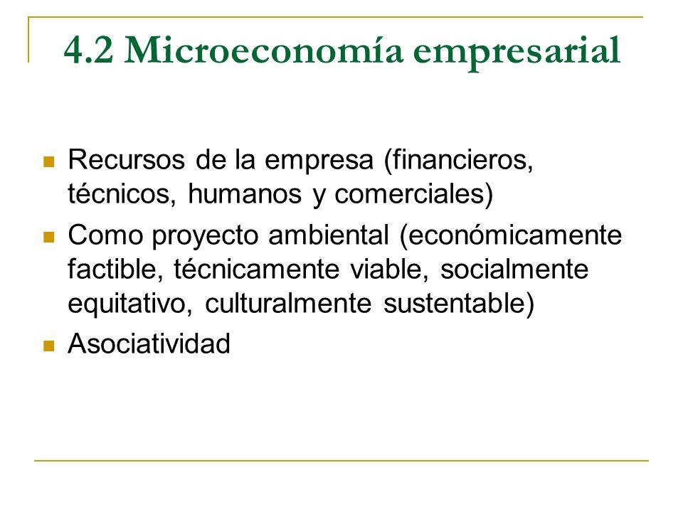 4.2 Microeconomía empresarial Recursos de la empresa (financieros, técnicos, humanos y comerciales) Como proyecto ambiental (económicamente factible,