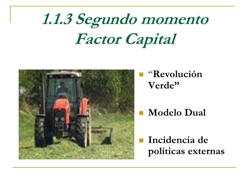 1.1.3 Segundo momento Factor Capital Revolución Verde Modelo Dual Incidencia de políticas externas