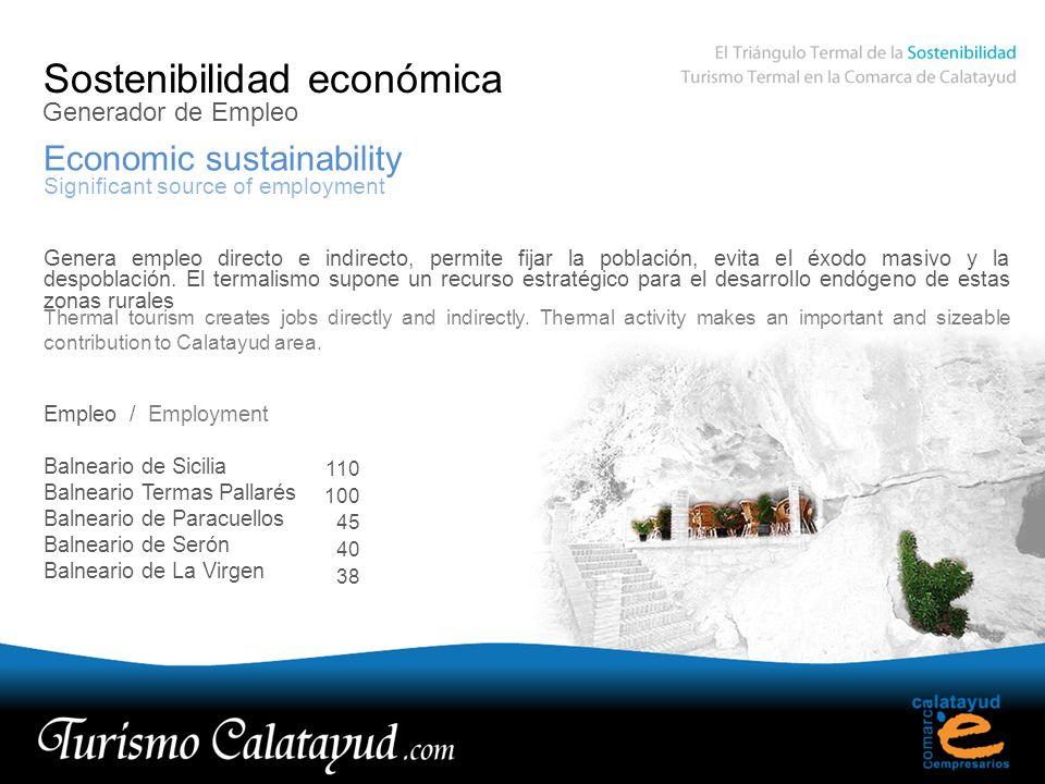 Sostenibilidad económica Economic sustainability Generador de Empleo Significant source of employment Genera empleo directo e indirecto, permite fijar la población, evita el éxodo masivo y la despoblación.