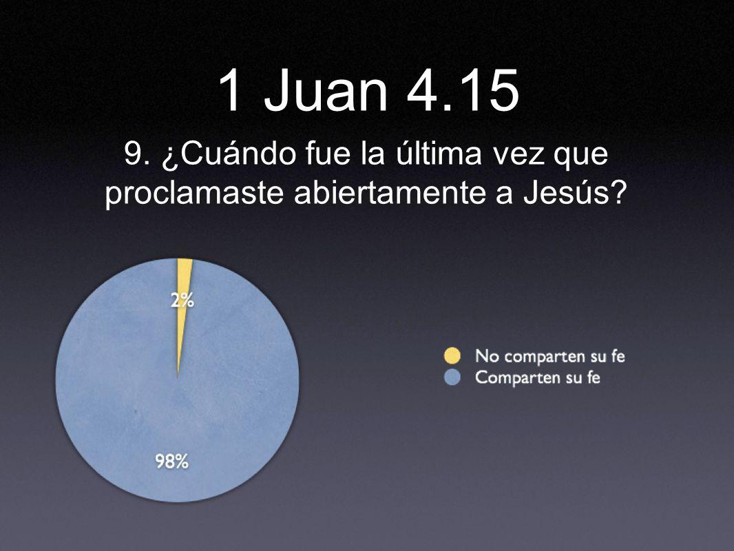 9. ¿Cuándo fue la última vez que proclamaste abiertamente a Jesús? 1 Juan 4.15