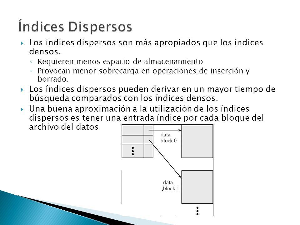 Los índices dispersos son más apropiados que los índices densos. Requieren menos espacio de almacenamiento Provocan menor sobrecarga en operaciones de