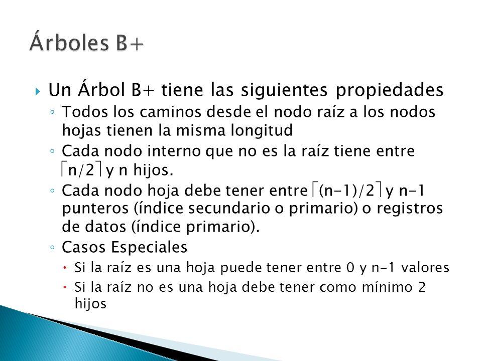 Un Árbol B+ tiene las siguientes propiedades Todos los caminos desde el nodo raíz a los nodos hojas tienen la misma longitud Cada nodo interno que no