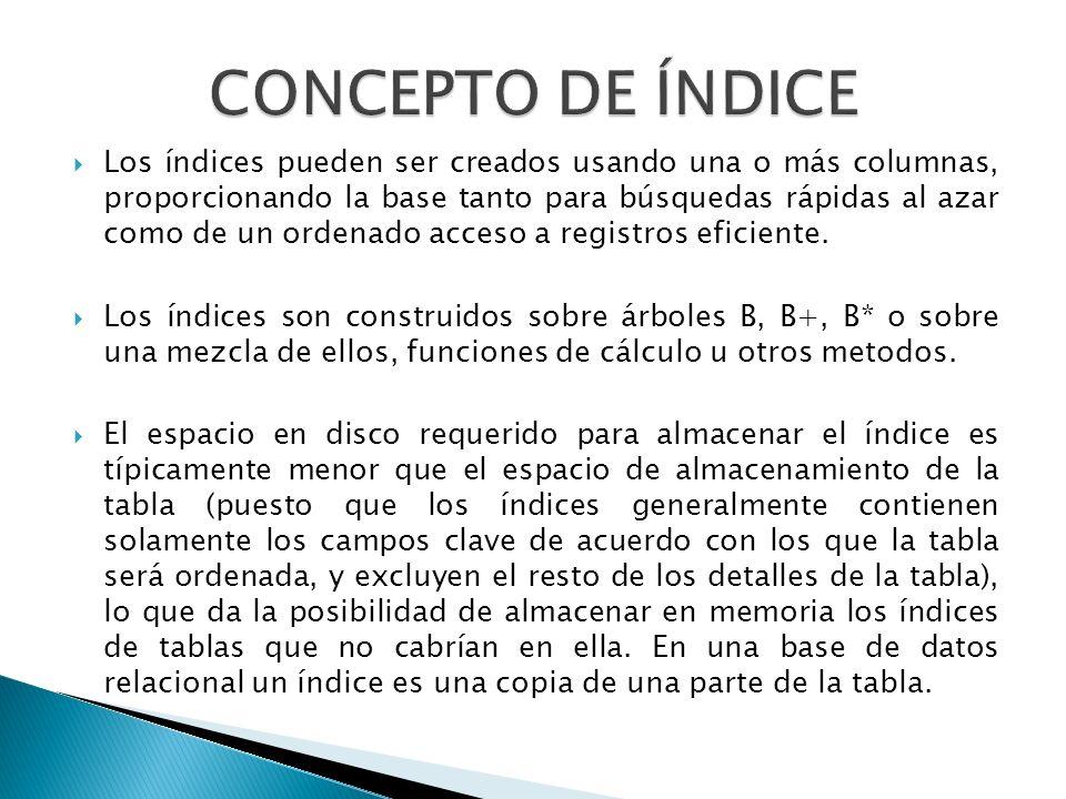Los índices pueden ser creados usando una o más columnas, proporcionando la base tanto para búsquedas rápidas al azar como de un ordenado acceso a reg
