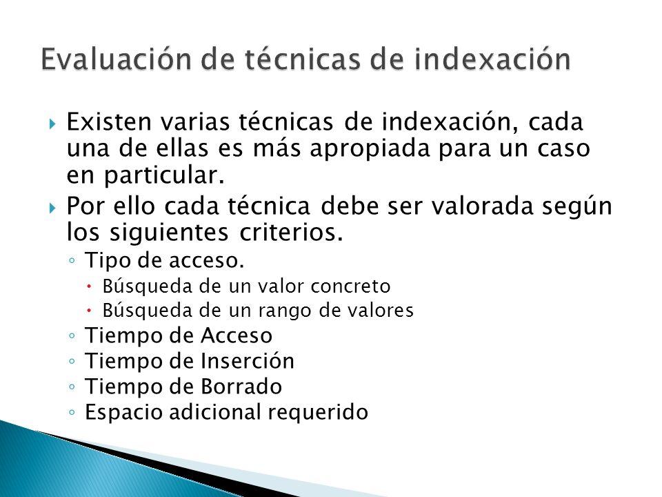 Existen varias técnicas de indexación, cada una de ellas es más apropiada para un caso en particular. Por ello cada técnica debe ser valorada según lo