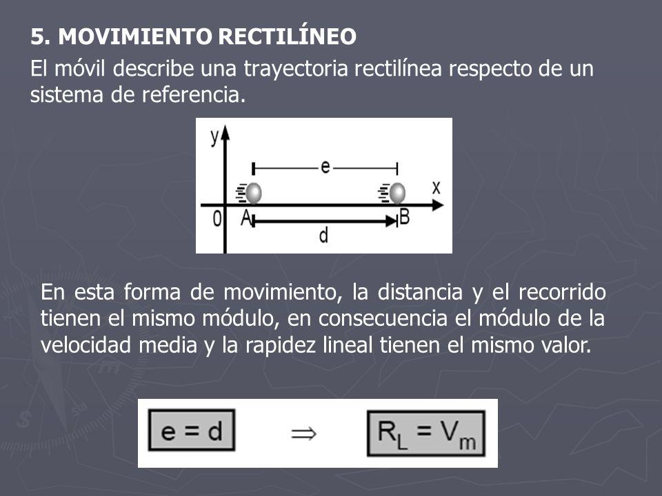5. MOVIMIENTO RECTILÍNEO El móvil describe una trayectoria rectilínea respecto de un sistema de referencia. En esta forma de movimiento, la distancia