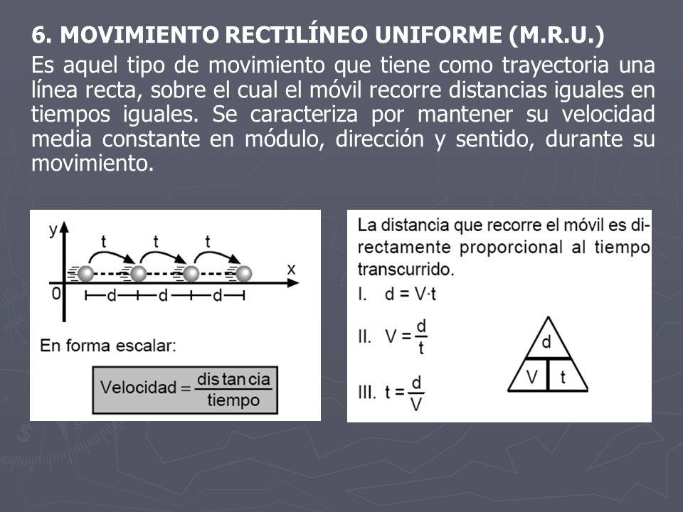 6. MOVIMIENTO RECTILÍNEO UNIFORME (M.R.U.) Es aquel tipo de movimiento que tiene como trayectoria una línea recta, sobre el cual el móvil recorre dist
