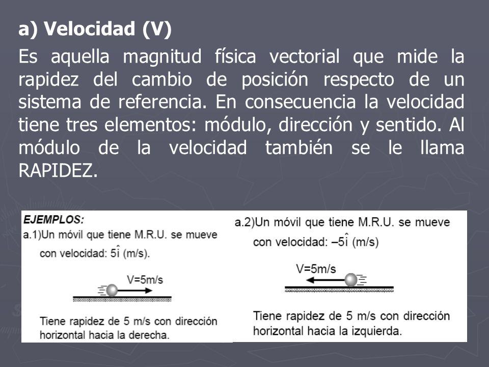 a) Velocidad (V) Es aquella magnitud física vectorial que mide la rapidez del cambio de posición respecto de un sistema de referencia. En consecuencia