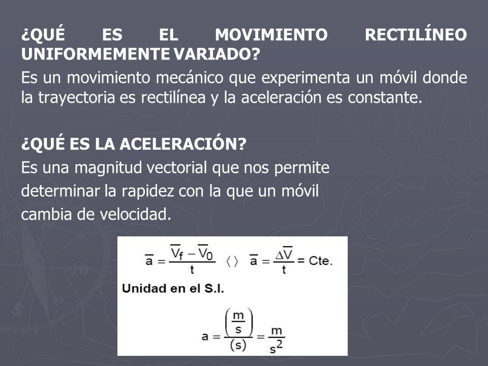 ¿QUÉ ES EL MOVIMIENTO RECTILÍNEO UNIFORMEMENTE VARIADO? Es un movimiento mecánico que experimenta un móvil donde la trayectoria es rectilínea y la ace