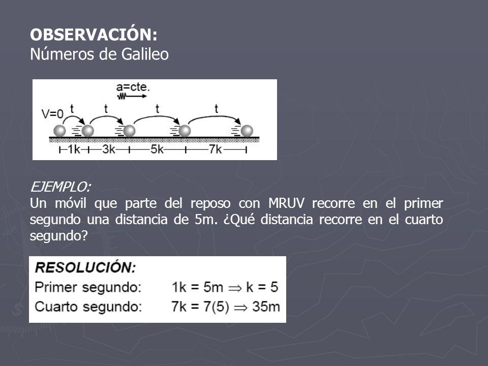 OBSERVACIÓN: Números de Galileo EJEMPLO: Un móvil que parte del reposo con MRUV recorre en el primer segundo una distancia de 5m. ¿Qué distancia recor