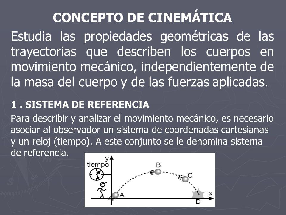 CONCEPTO DE CINEMÁTICA Estudia las propiedades geométricas de las trayectorias que describen los cuerpos en movimiento mecánico, independientemente de