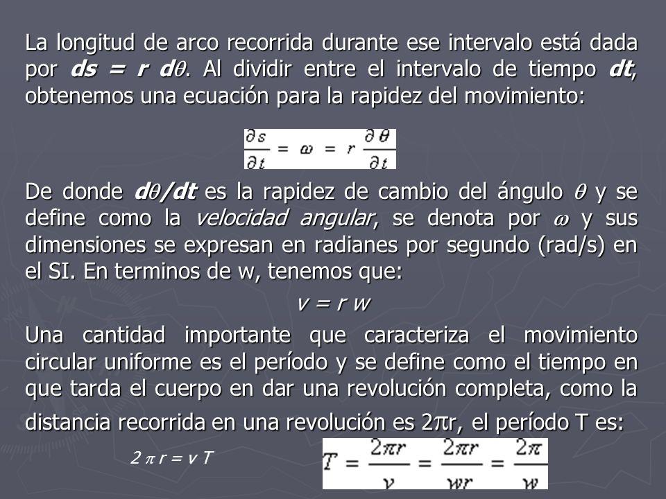 La longitud de arco recorrida durante ese intervalo está dada por ds = r d. Al dividir entre el intervalo de tiempo dt, obtenemos una ecuación para la