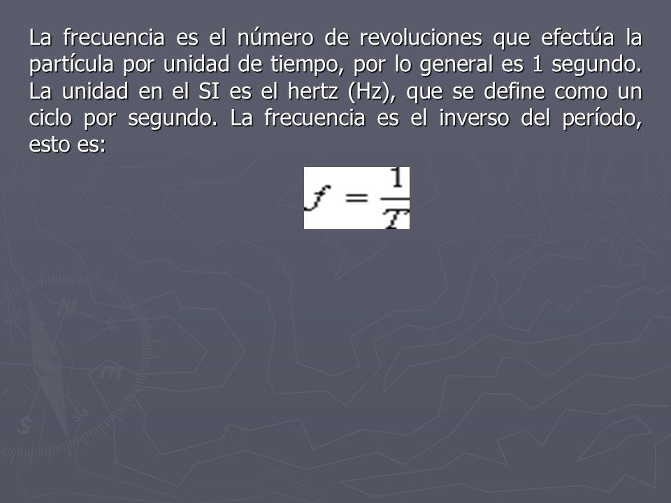 La frecuencia es el número de revoluciones que efectúa la partícula por unidad de tiempo, por lo general es 1 segundo. La unidad en el SI es el hertz