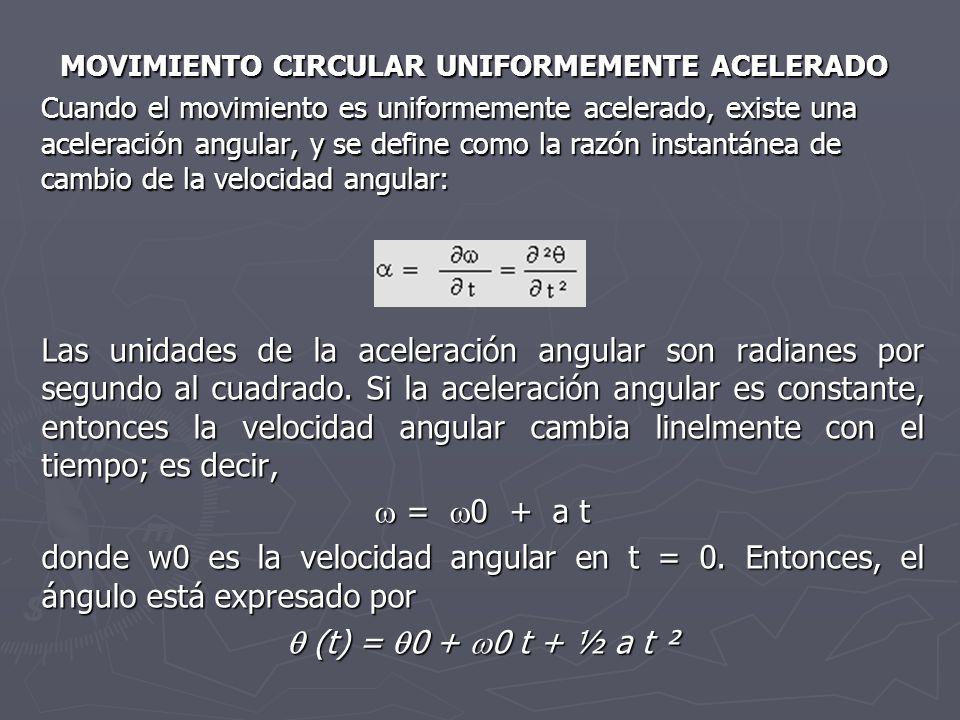 MOVIMIENTO CIRCULAR UNIFORMEMENTE ACELERADO Cuando el movimiento es uniformemente acelerado, existe una aceleración angular, y se define como la razón