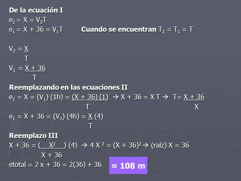 De la ecuación I e 2 = X = V 2 T e 1 = X + 36 = V 1 TCuando se encuentran T 2 = T 1 = T V 2 = X T V 1 = X + 36 T Reemplazando en las ecuaciones II e 2